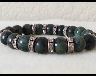 Envy - Green Kambaba Jasper & Crystal Stretch Bracelet - Limited Edition