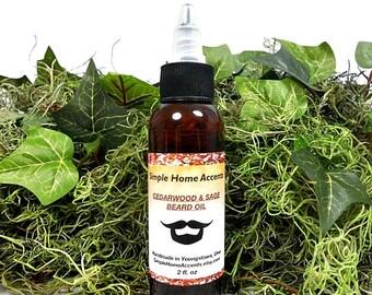 Beard Oil, Cedarwood and Sage, Beard Moisturizer, Vegan, Gift for Him, Beard Care