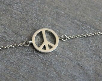 Sterling Silver Peace Bracelet - Hippie Jewelry - Boho Chic - Friendship  Gift - Gifts for Her - Friendship Bracelets - Silver Bracelets