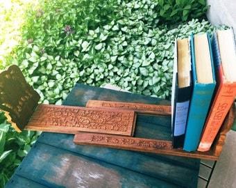 Exquisitely Hand Carved Teak Vintage Expandable BookEnds/Holder