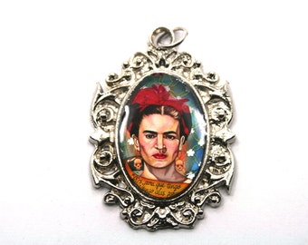 Frida Kahlo Pendant,1pc,48mmX35mm,Pewter Pendant for making Jewelry,Frida Kahlo Jewelry,Day of Dead Jewelry,Halloween Jewelry