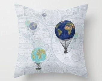 Hot Air Balloon Throw Pillow , World travel, blue world map, travel,  throw pillow, home, decor, designer