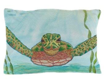 Sea Turtle Pillow Case - blue watercolor ocean undersea teal,   bedroom decor, art, curate the bedroom