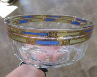 French Arcoroc Large Thumbprint Glass Bowl Art Deco Gilding
