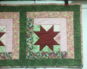 QUEEN Quilted Bed Runner Homemade, Orion's Star Table Runner or Bed Runner, Patchwork Quilted Runner,  one of a kind piece - FREE SHIPPING
