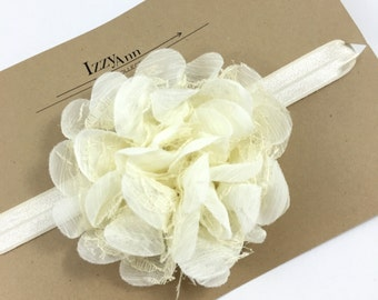 Ivory Flower Girl Headband,Baby girl headband,Christening Headband,Newborn Headband,Ivory Flower Hair Clip,Ivory Lace Flower Headband