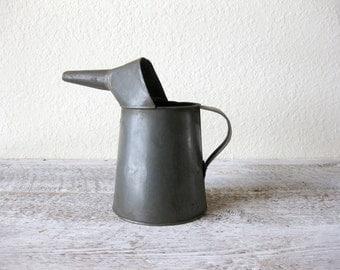 Vintage Metal Oil Can Pitcher, 2 Quart ~ Metal Pitcher ~ Oil Pitcher ~ Flower Holder