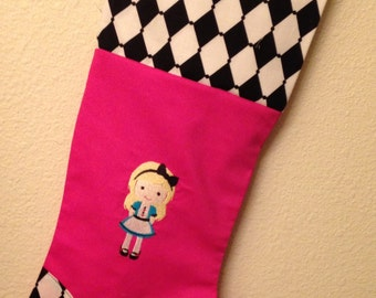 Personalized Alice in Wonderland Themed Christmas Stocking