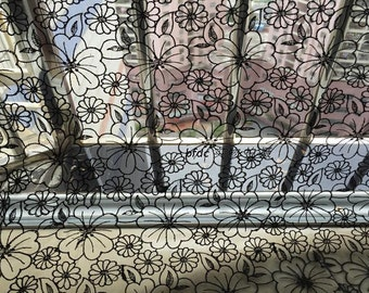 Soft Black Flower Organza embroidered lace fabric - 130 cm wide x 100 cm length - binf