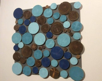 Handmade 3D Wood Slice Wall Art Picture - Sky Pearls
