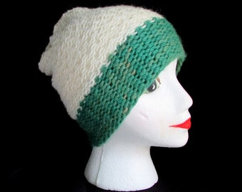 White and green slouch hat