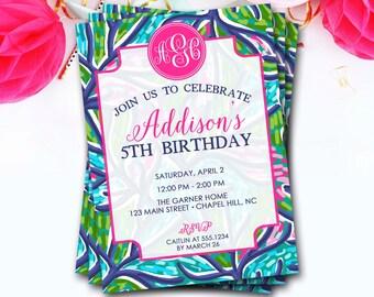 Preppy Monogram Birthday Invitation, Flower Monogram Birthday Invitation, Lilly Birthday Invitation,Girl Birthday Invitation,DIY Printable