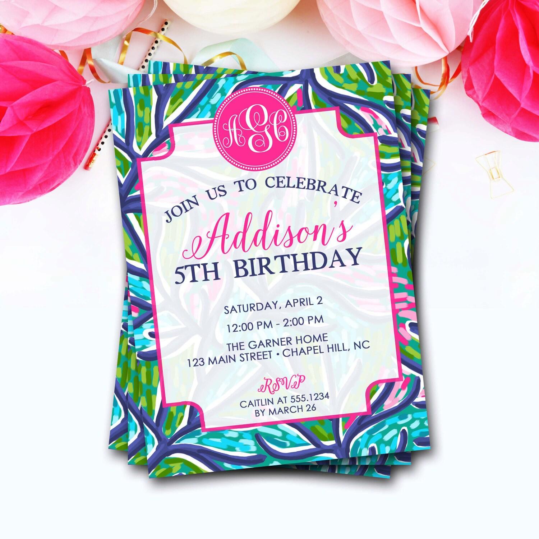 Preppy Monogram Birthday Invitation, Flower Monogram Birthday ...