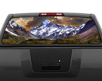 Mountain Scenery #2 Rear Window Graphic Decal (Perforated)