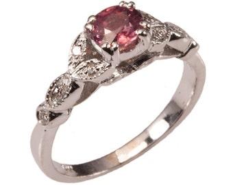 Natural Pink Sapphire, Diamond Gold Ring. Natural Sapphire Diamond, 14kt Gold Ring Handmade by Gevani Jewelry.