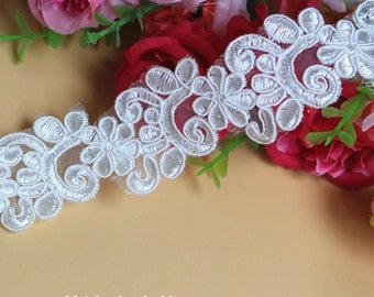 2 yards Exquisite Ivory Venice lace Floral Embroidered Lace Trim 1.37 Inches width