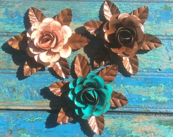 Rustic metal rose w/ leaves - Turquoise, Brown or Pale Pink approx 5.5""