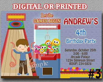 Arcade Bowling Invitation Boy Birthday Party Invitation YOU Print Digital File or PRINTED