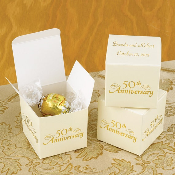50th Wedding Anniversary Favor Ideas: Personalized 50th Anniversary Favor Boxes Truffles Candy Ivory