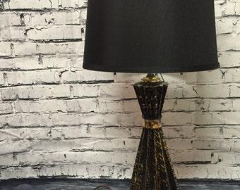 Mid Century Modern Black Gold Table Lamp