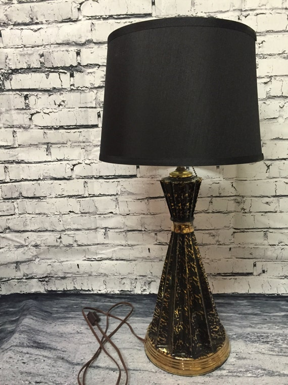 mid century modern black gold table lamp by glrestoration. Black Bedroom Furniture Sets. Home Design Ideas