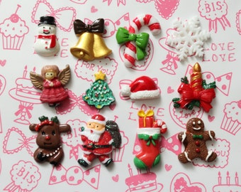 Cute Christmas Cabochon Set - 12pcs