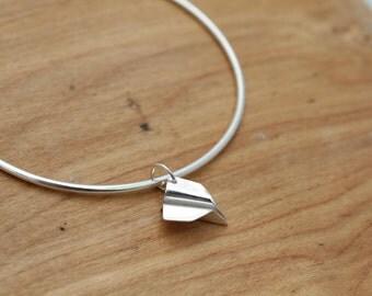Handmade Sterling Silver Origami Plane Bangle