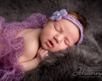 Purple Hand-Felted Flower with Bead Accent - Tieback - Newborn Photo Prop
