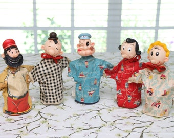 1950's - 1960's  Gund Popeye the Sailor Puppet Set