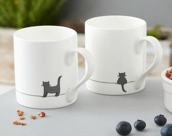 Standing Cat and Crouching Cat Mug - Set of Two Fine Bone China Mugs, Gift for Cat Lovers