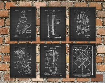 Baseball Patent Wall Art Poster Set of 6 - Baseball Gifts - Baseball Decor - Baseball Art Gift Ideas For Him - Baseball Pictures Set of 6
