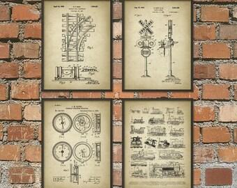 Railroad Patent Posters Set Of 4 - Locomotive Patent Prints - Train Wall Art Prints - Vintage Trains - Steam Railway Trains - Railroad Track