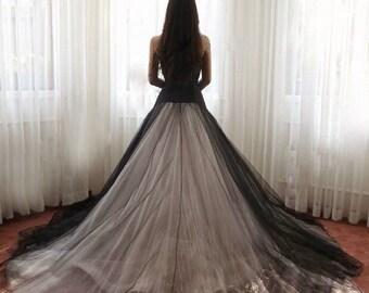 Black strapless stylish wedding dress