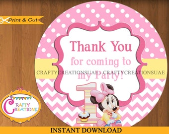 Baby Minnie Mouse Favor Tags - Sticker- Party Tags- Thank You Tags- Gift Tags- Birthday - Printable- INSTANT DOWNLOAD - CraftyCreationsUAE