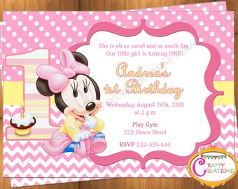 Baby Minnie Mouse First Birthday Invitation - Minnie Mouse 1st Birthday Party Invite - Printable - Digital File - CraftyCreationsUAE