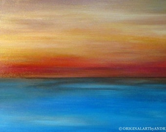 Reproduction Giclee Abstract Art Landscape Prints Blue Orange Abstract Seascape Home Decor CANVAS WALL ART Acrylic Painting Print On Canvas