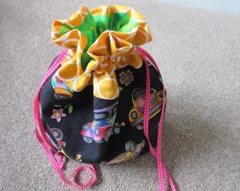 knitting project bag - drawstring