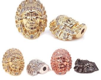 Southwest Native American Indian Head Charm Bead,Indian Chef head Micro Pave CZ Findings,Indian Head Bead For Native jewelry Making,2Pcs