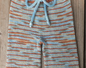 Hand Knitted Wool Shorts, Wool Diaper Cover, Wool Baby Shorties, Baby Boy Boardies, Size 6-18 months