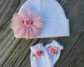 Newborn Baby Hat Pink Newborn Hat Baby Mittens Newborn Hat And Mitten Set Girl Newborn Hospital Hat Baby Hat