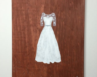 8x10 Custom Wedding Dress Painting on Choice of Stained Wood with Free Shipping