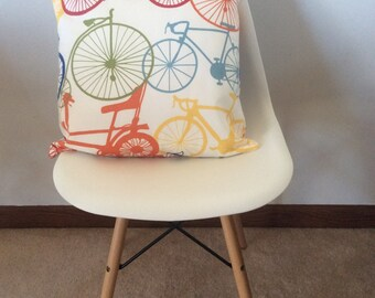 Bicycle print pillow cover 18x18""