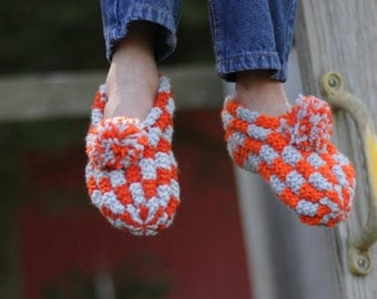 Hand Knitted Kid's Slippers in Orange & Gray