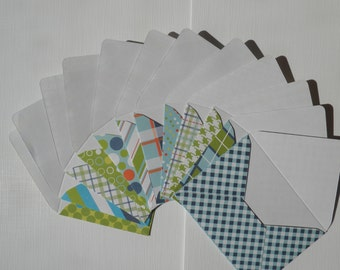 Set of 12 Mini envelopes with notecards, blue green, babyshower cards