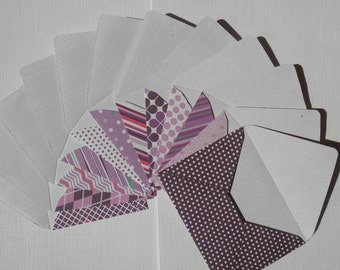 Set of 12 Mini envelopes with notecards, purple babyshower cards, envelopes with insert