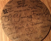 "Family Typography Quotes Lazy Susan 24"" Round."