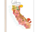 California Map Card / Maps / Travel / Wanderlust / Just Because Card (Style #622)