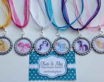 6 My Little Pony Birthday Party Favors Boutique Bottlecap Necklace
