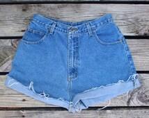 "Size 28"" | Medium Wash High Waisted Cut Off Shorts"