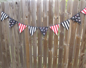 Fabric Banner Bunting - Pennant Flags, Birthday Banner, Photo Prop, Pirate Party